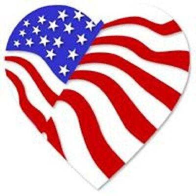 30 Custom USA Patriotic Heart Personalized Address Labels