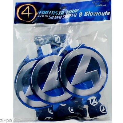 FANTASTIC FOUR Rise of the Silver Surfer BLOWOUTS (8) ~ Birthday Party Supplies - Surfer Supplies