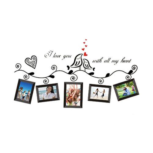 Sunny Love Birds Photo Frame Art Wall Stickers Decal Romantic Wedding Room Decor