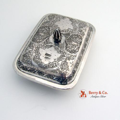 Ornate Persian Chased Floral Scroll Soap Dish Box 84 Standard Silver 1900