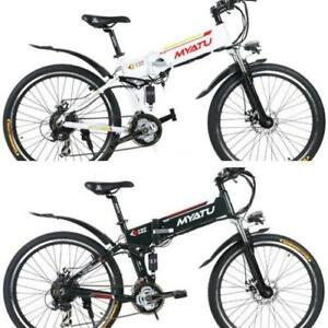 "Weekly Promo! 26"" ALUMINUM ALLOY FOLDING MOUNTAIN EBIKE, X5-26, 500W,  White $1599(was $2099)"