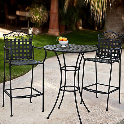 Wrought Iron Bistro Set Outdoor Bar Height Patio Dining Table Chairs Deck Furnit ()