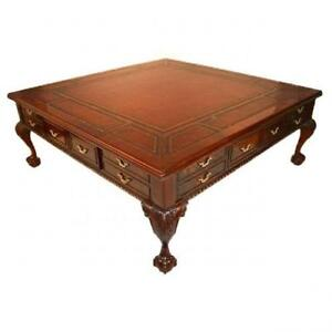 Square coffee table ebay for Large wood coffee table square