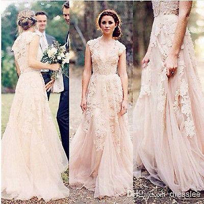 Vintage Lace Wedding Dresses Cap Sleeve Bridal Gowns Custom Size 2 4 6 8 10 12++
