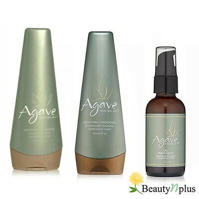 Agave HEALING OIL Smoothing Shampoo, Condition 8.5oz and Treatment 3.75oz (SET)