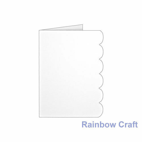10 Blank Cards & Envelopes / Scallop Edge / step card / DL / Horizontal / Swing - Scallop Edge Card