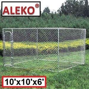NEW ALEKO CHAIN LINK DOG KENNEL DK10x10x6 136998056 10' x 10' x 6'