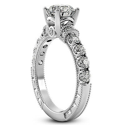 1 CARAT ROUND CUT ENHANCED DIAMOND ENGAGEMENT RING SI D 14K WHITE GOLD