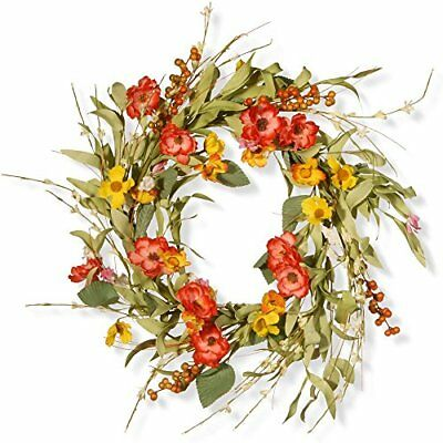 NEW National Tree Company 22 in. Spring Flower Wreath FREE SHIPPING