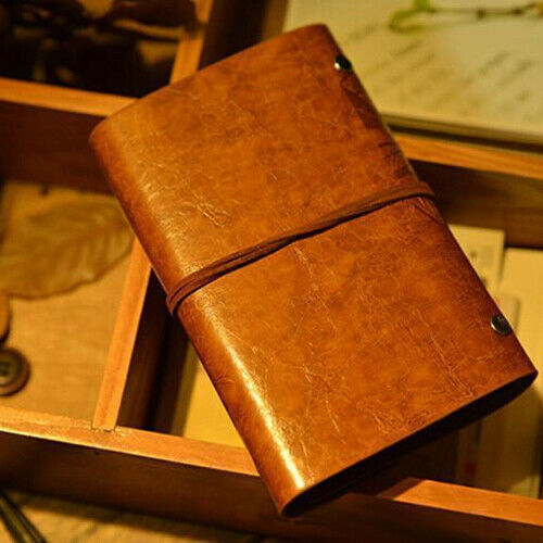 Vintage Faux Leather Leaf String Bound Blank Paper Diary Journal Notebook Witty
