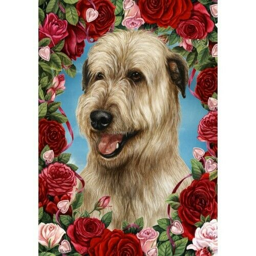 Roses Garden Flag - Wheaten Irish Wolfhound 193301