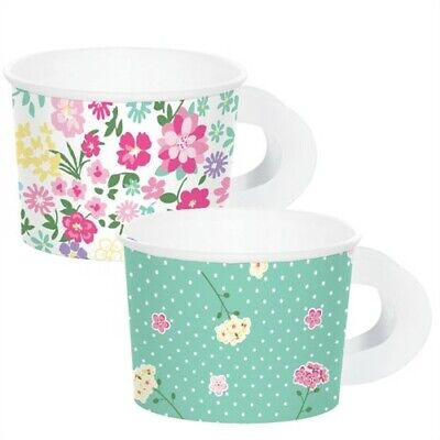 Paper Cups With Handles (Floral Tea Party Paper Tea Cups with Handle 8 Pack Favor Girls Birthday)