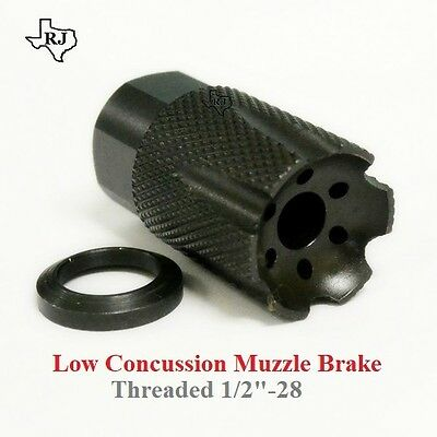 Low Concussion 1/2x28 Muzzle Brake Compensator .223/5.56/.22 COMPACT CUSTOM