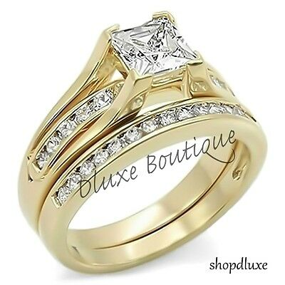 2.10 Ct Princess Cut AAA CZ 14k Gold Plated Wedding Ring Set Women's Size 5-10
