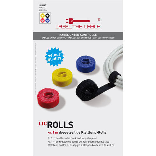 LABEL THE CABLE ROLLs - doppelseitige Klettband Rollen, 4x 1 Meter, 4 Farben