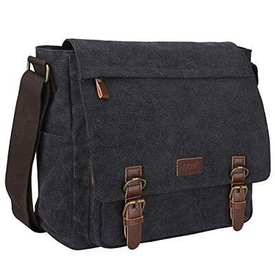 Vintage Canvas Messenger Bag School 13.3 15inch Laptop Briefcase Dark