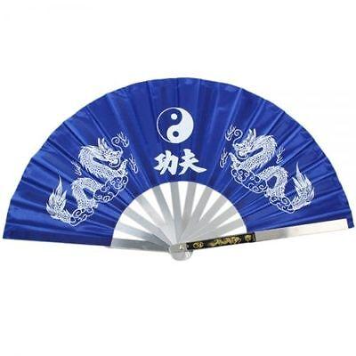 USA HEAVY DUTY STEEL BLUE DRAGON KUNG FU TAI CHI FAN Martial Arts Hand Wushu