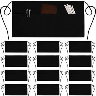 12 Pack Server Aprons With 3 Pockets - Waist Apron Waiter Waitress Apron Wate...