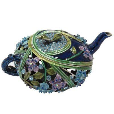 Navy Blue Enamel Floral Tea Pot Trinket Jewelry Box Figurine Swarovski Crystals