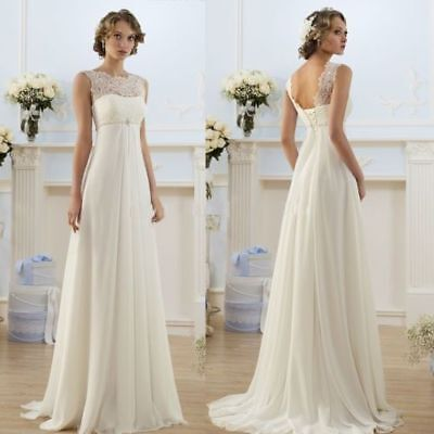 Hot White Ivory Chiffon Wedding Dress Bridal Gown Stock Size 6 8 10 12 14 16 18