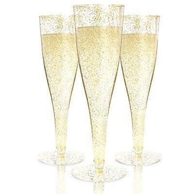 Champagne Flutes Disposable - 100 Pack | Gold Glitter Plastic Champagne Glasses
