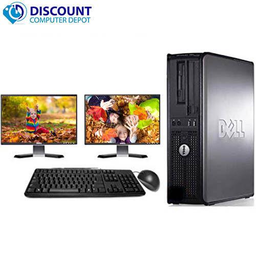 """Dell Desktop Computer PC Intel Windows 10 WIFI Dual LCD Monitor 17""""/19"""""""
