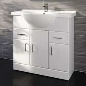 Bathroom 850x330mm Quartz Gloss White Built In Basin Unit REF:GT1234