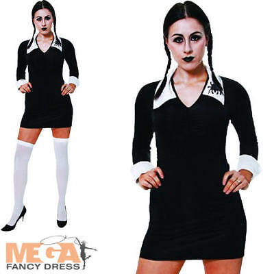 Scary Daughter Ladies Fancy Dress Wednesday Adult Halloween Movie Costume Outfit