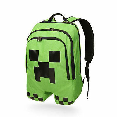 Minecraft Backpack School bag Boys Green Creeper Rucksack Sports Bag-NEW - Minecraft Green