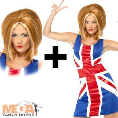 90s Outfit (Ginger Spice Girl Costume + Wig Ladies Union Jack Fancy Dress 90s British)