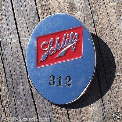 Original SCHLITZ BREWING COMPANY EMPLOYEE BADGE Metal Pinback Pin 1950s NOS