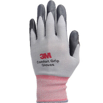 3M Comfort Grip Gray Nitrile Foam Coated Work Safety Gloves (10 Pairs) Large i