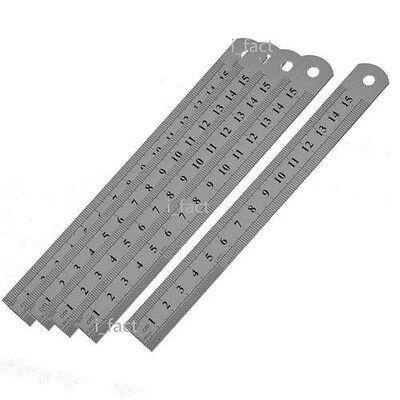 "5Pcs 6""15cm Stainless Steel Metric Metal Ruler Pocket Measurement Double Side US"