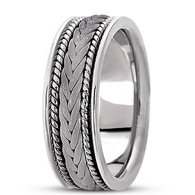 NEW LADIES 14k WHITE GOLD HAND BRAIDED ROPE STYLE WEDDING BAND RING 7mm SIZE 6 ()