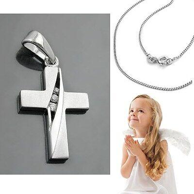 Kinder Taufe Kommunion Konfirmation Zirkonia Kreuz Anhänger Silber 925 mit Kette