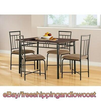 Kitchen 4 Chairs and Table Dining Set 5 Pcs Wood Metal Furniture Brown Espresso