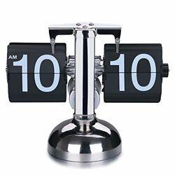 WoneNice Retro Digital Flip Down Clock - Internal Gear Operated-Black