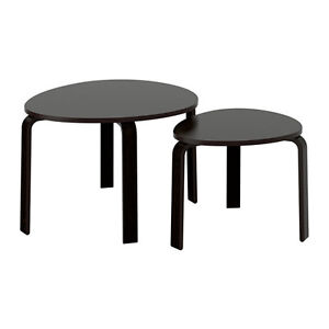 IKEA SVALSTA SET OF 2 NESTING TABLES BLACK/BROWN