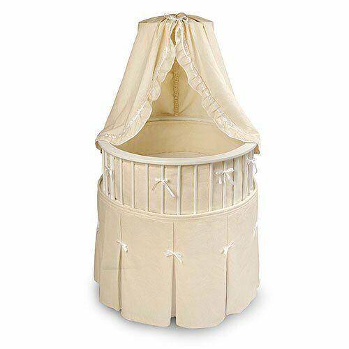 Badger Basket - Elegance Bassinet, White With Ecru Waffle Bedding        913