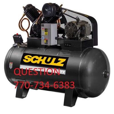 Schulz Air Compressor - 7.5hp Three Phase - 80 Gallon Tank - 30cfm - 230volts