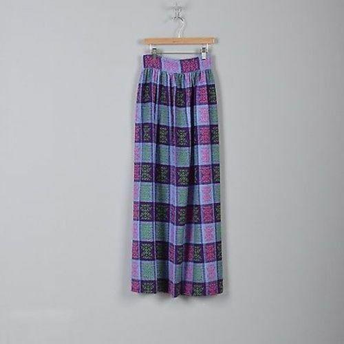 1970s Girls Maxi Skirt Purple Plaid Woven Tweed Tall Long Slim Small Woman 70s