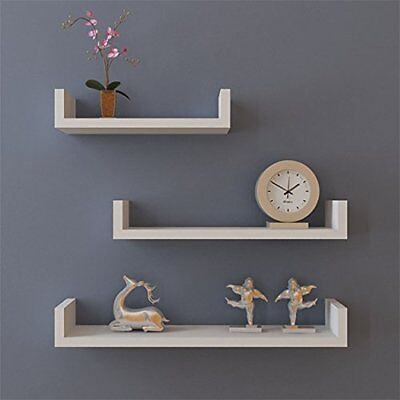 Decor Wall Shelves (Set of 3 Floating Shelves Bookshelf Wall Mount Shelf Display Home Decor White )