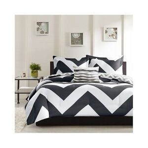 Black White Comforter Set Chevron Design FULL/QUEEN Bed Bedding Blanket Bedroom