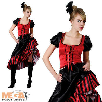 Saloon Girl Ladies Fancy Dress Burlesque Showgirl 20s Red Can Can Adults Costume](20s Showgirl Costume)