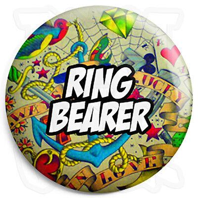 Ring Bearer - 25mm Tattoo Wedding Button Badge with Fridge Magnet Option](Ring Bearer Badge)