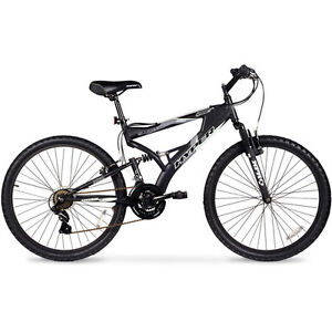 26-Hyper-Havoc-MTB-Mens-Black-Bicycle-Full-Suspension-21-Speed-Mountain-Bike