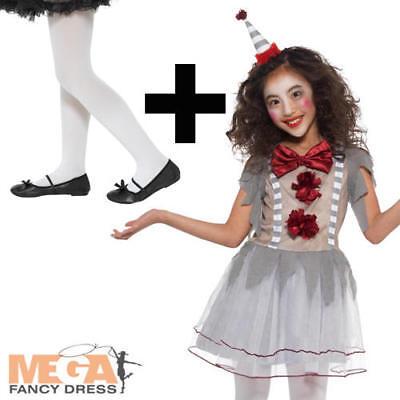 Halloween Vintage Clown + Tights Girls Fancy Dress Circus Kids Childs Costume