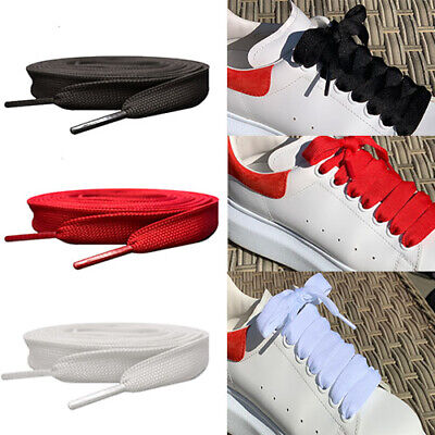 Black , White & Red Coloured Flat Trainer Style Shoelaces for Alexander Mcqueen
