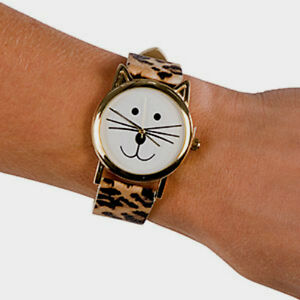 Brand New Cat Face Watch With Animal Print Faux Leather Band