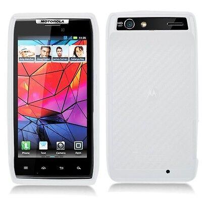 White Rubber SILICONE Skin Soft Gel Case Phone Cover for Motorola DROID (Razr Phone Skin)